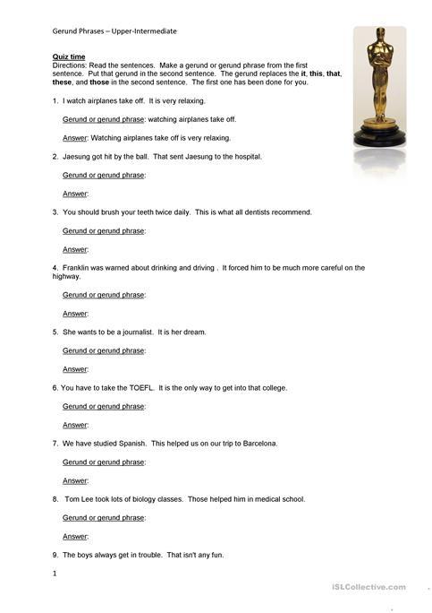 Gerund Phrase Task Worksheet