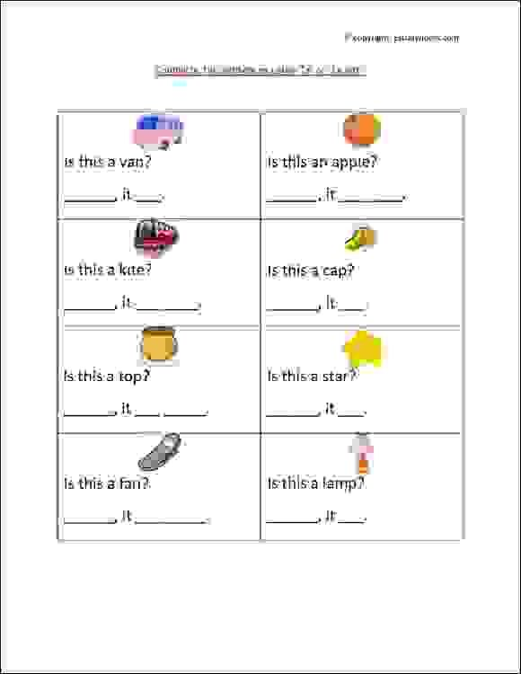 Grade 1 English Grammar Worksheet With Pictures, To Practice Use