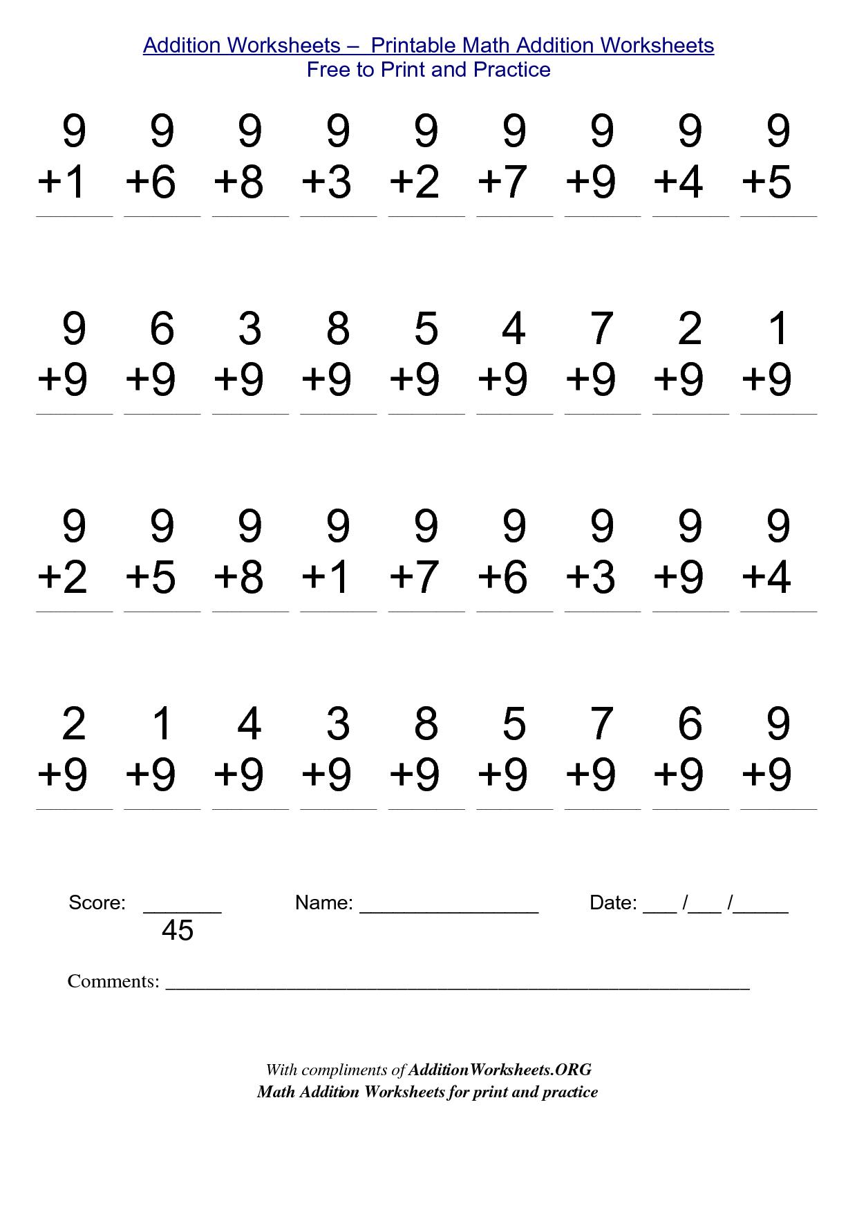 Grade 1 Printable Worksheets