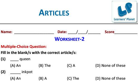 English Grammar Articles Worksheets For Students Tutorials