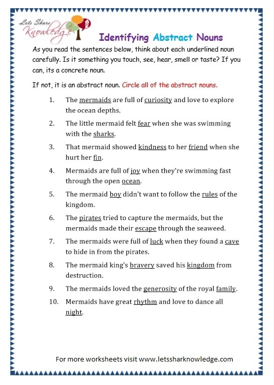 Grade 3 Grammar Topic 1  Abstract Nouns Worksheets