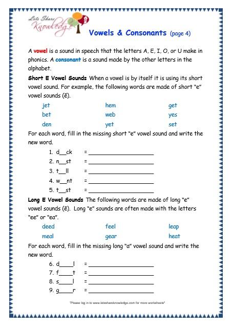 Grade 3 Grammar Topic 37  Vowels And Consonants Worksheets