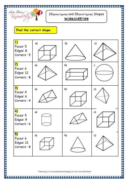 Grade 3 Maths Worksheets  (14 3 Geometry  2d (plane Figures) And