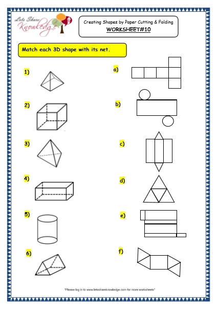 Grade 3 Maths Worksheets  (14 6 Geometry  Creating Shapes By Paper