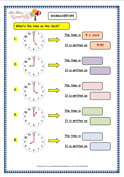 Grade 3 Maths Worksheets  (8 1 Telling The Time In Exact Hours
