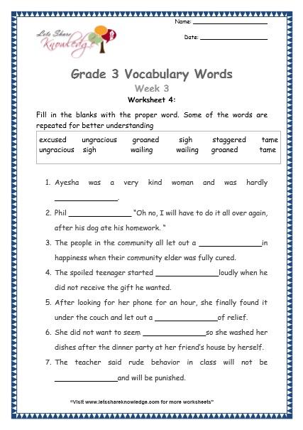 Grade 3  Vocabulary Worksheets Week 3