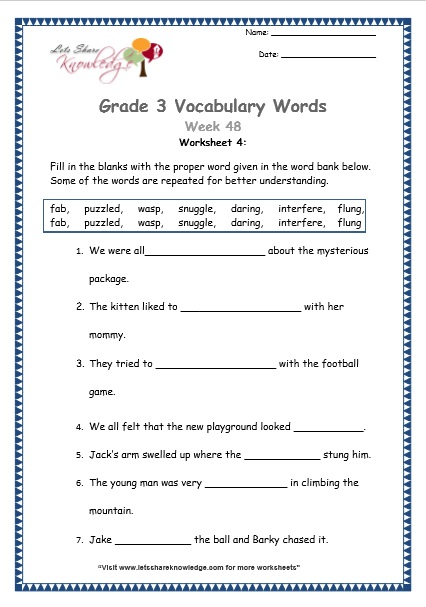Grade 3  Vocabulary Worksheets Week 48