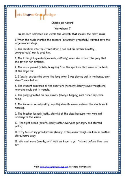 Grade 4 English Resources Printable Worksheets Topic  Adverbs And