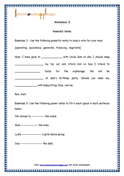 Grade 4 English Resources Printable Worksheets Topic  Powerful