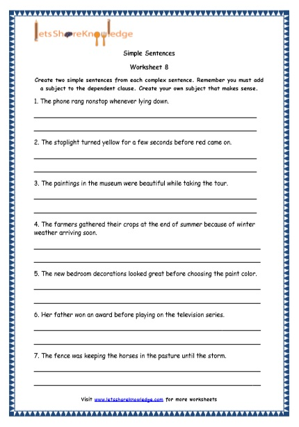 Grade 4 English Resources Printable Worksheets Topic  Simple