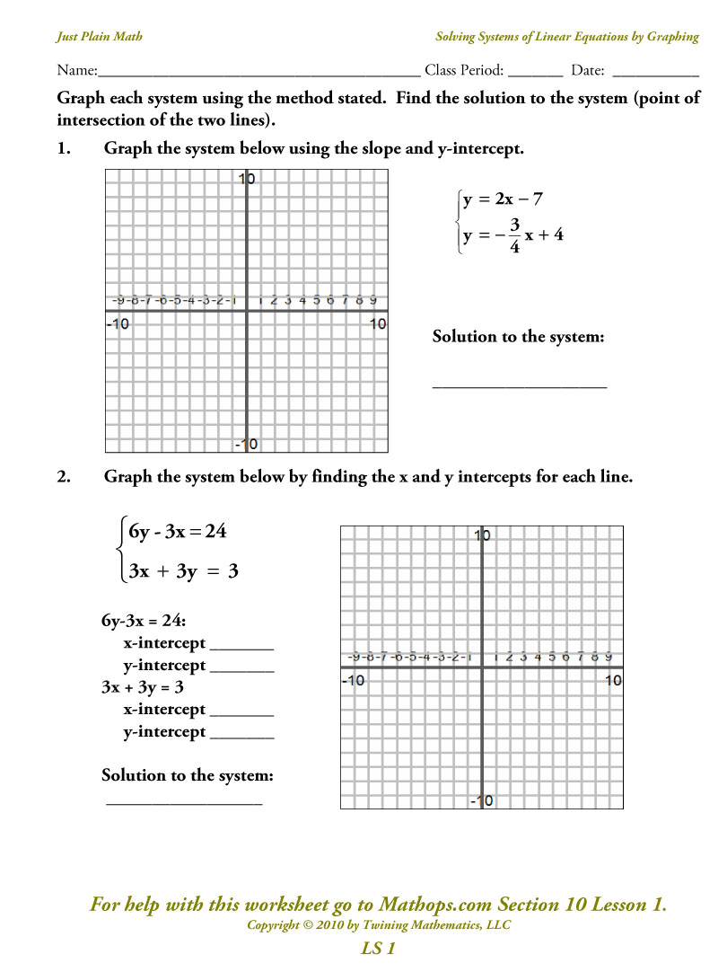 Graphing Systems Of Equations Worksheets  1102765