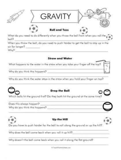Gravity Worksheets