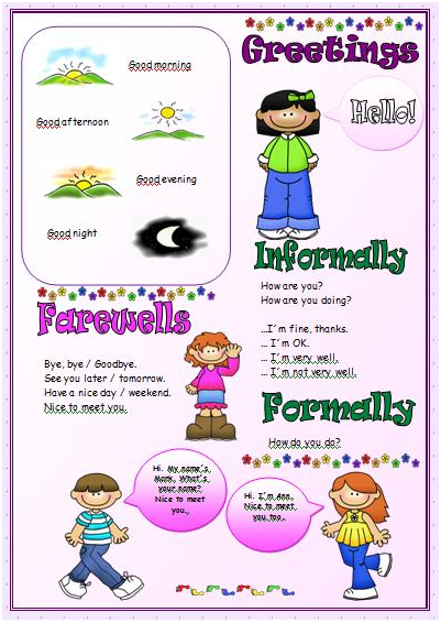 Greetings And Farewells Worksheets For Kids