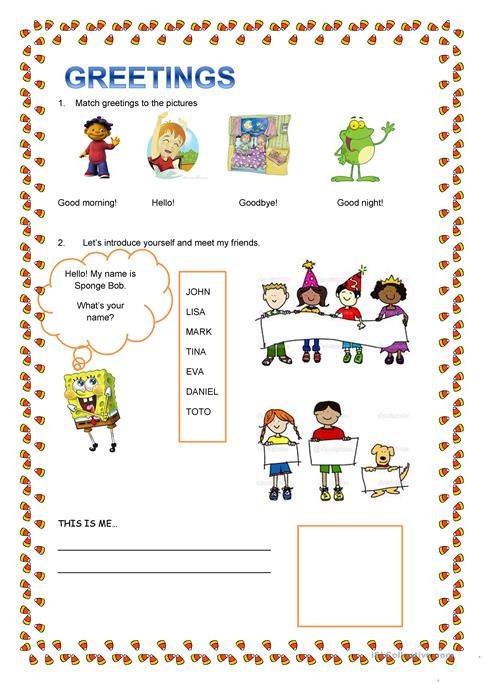 Greetings And Introduce Yourself Worksheet