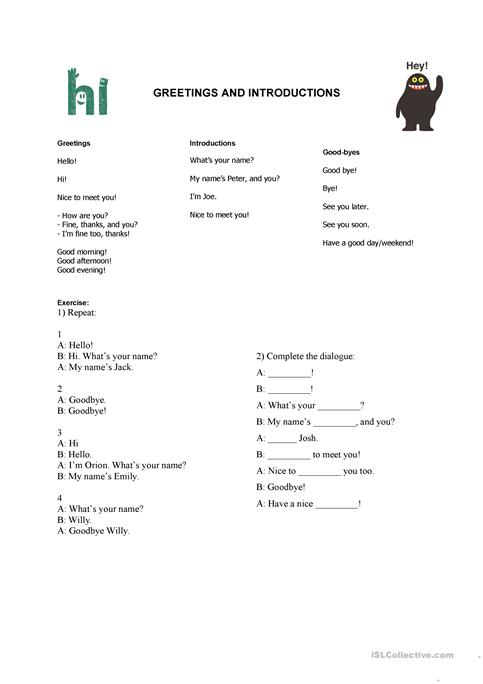 Greetings And Introductions Worksheet