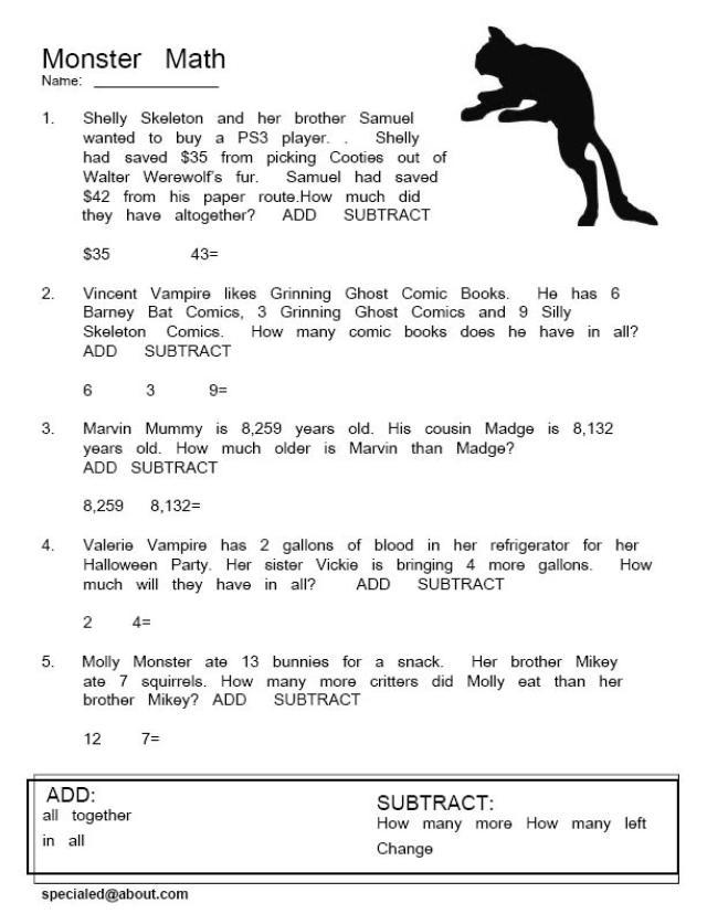 Halloween Math Worksheets 7th Grade  736645