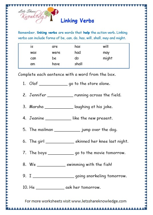 Helping Verbs Worksheets For Grade 3 Worksheets, Verbs Worksheets