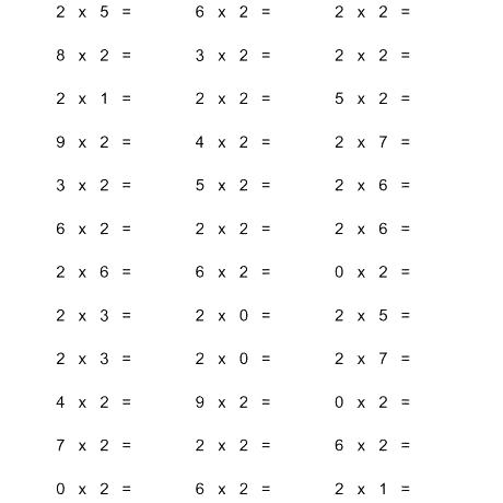 Horizontal Multiplication Facts Questions 2 By 0 9 A Worksheets
