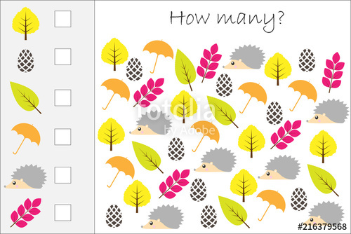 How Many Counting Game With Autumn Pictures For Kids, Educational