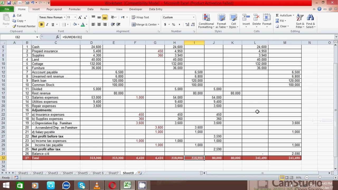 How To Prepare Ten Column Worksheet In Excel Unfold Sheet (samir