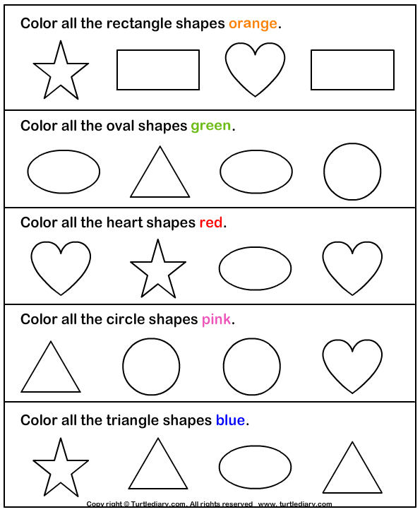 Identify And Color Shapes Worksheet Turtle Diary, Pre School