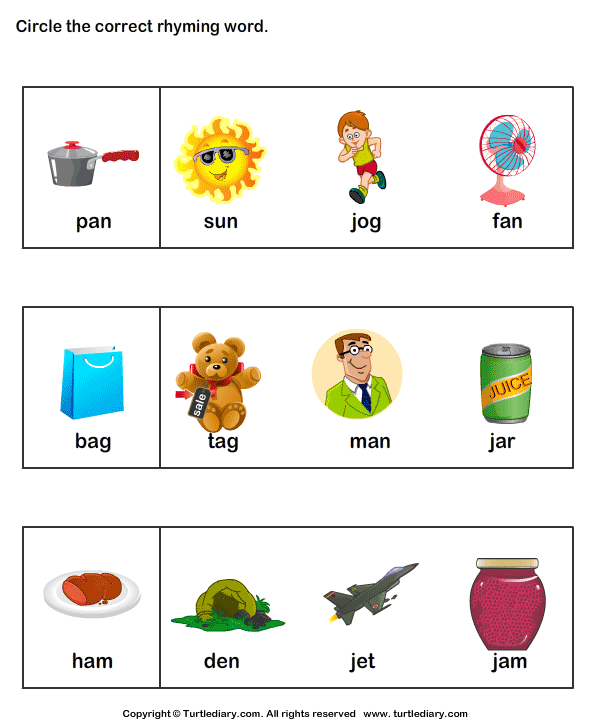 Identify Rhyming Words Worksheet