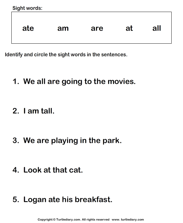 Identify Sight Words Ate Am Are At All Worksheet