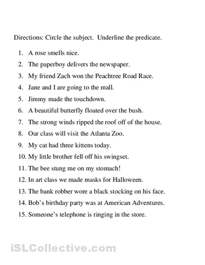 Identifying Subject And Predicate Worksheet