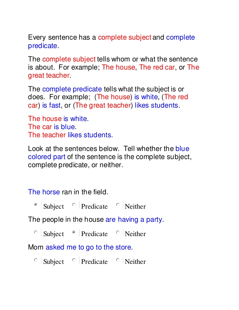 Identifying Subjects And Predicates Worksheets  1388088