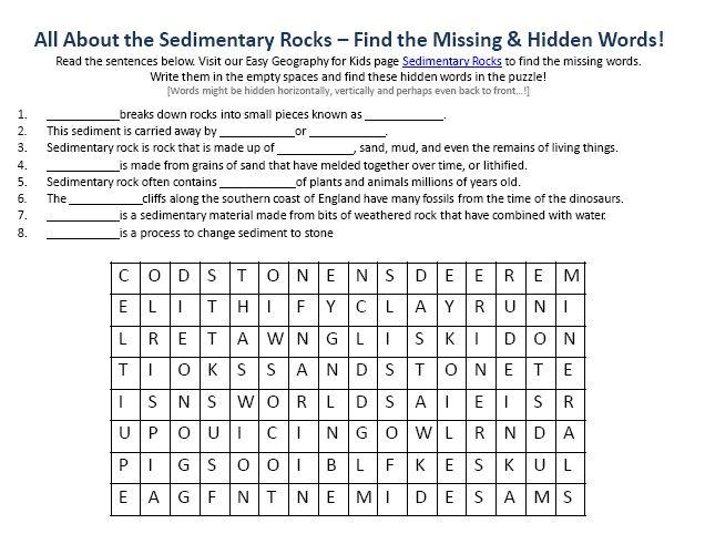 Image Of Sedimentary Rocks Worksheet