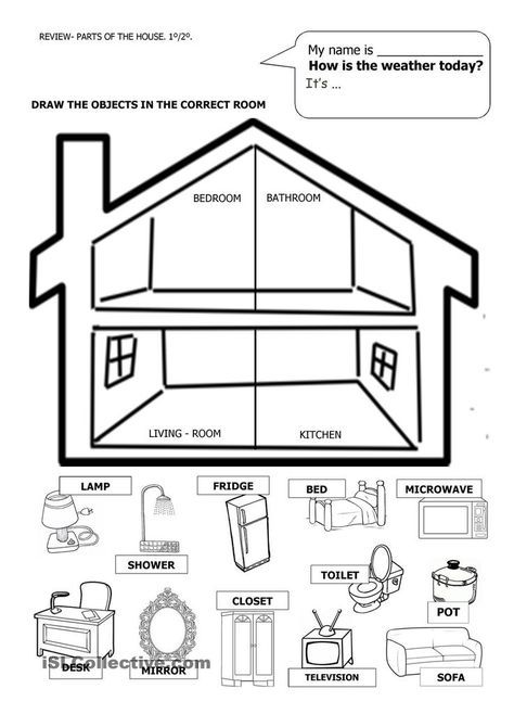 Image Result For Cut And Paste Parts Of The House Worksheet