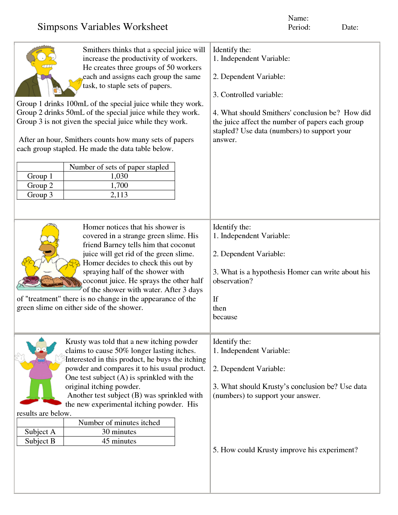 Independent And Dependent Variables Worksheet For 6th Grade