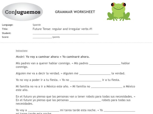 Irregular Verbs Worksheet Spanish 1265056