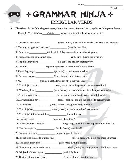 Irregular Verbs Worksheets For 3rd Grade Irregular Verb, Grammar