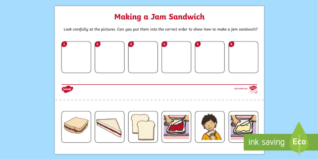 Jam Sandwich Sequencing Worksheet   Activity Sheet
