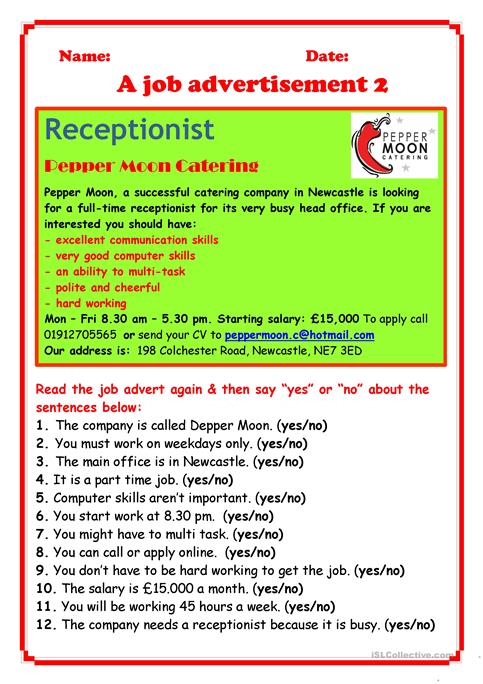 Job Advertisement 2 Worksheet