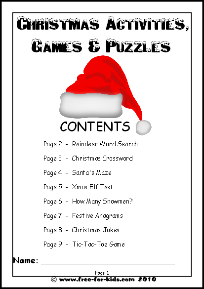 Kids' Christmas Activities, Games And Worksheets