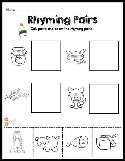 Kindergarten Cut And Paste Printable Rhyming Worksheets For All
