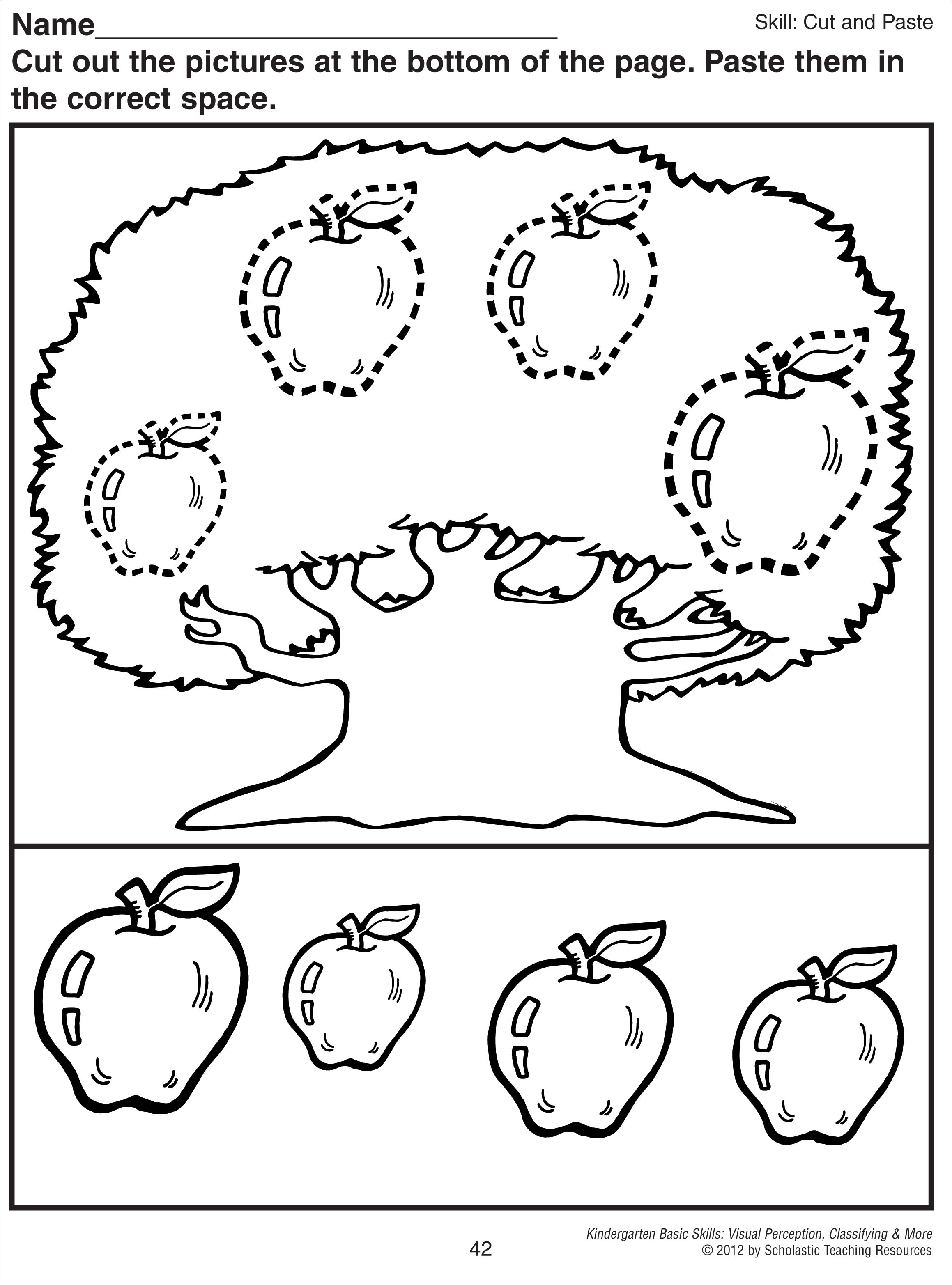 Kindergarten Cut And Paste Worksheets  664984