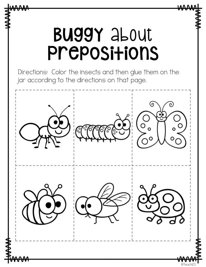 Kindergarten Preposition Worksheets  1265369