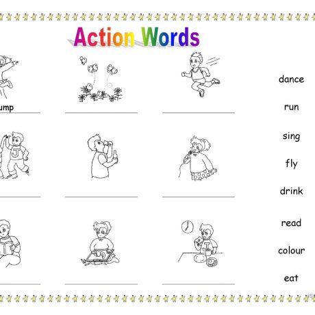 Kindergarten Worksheets Action Words