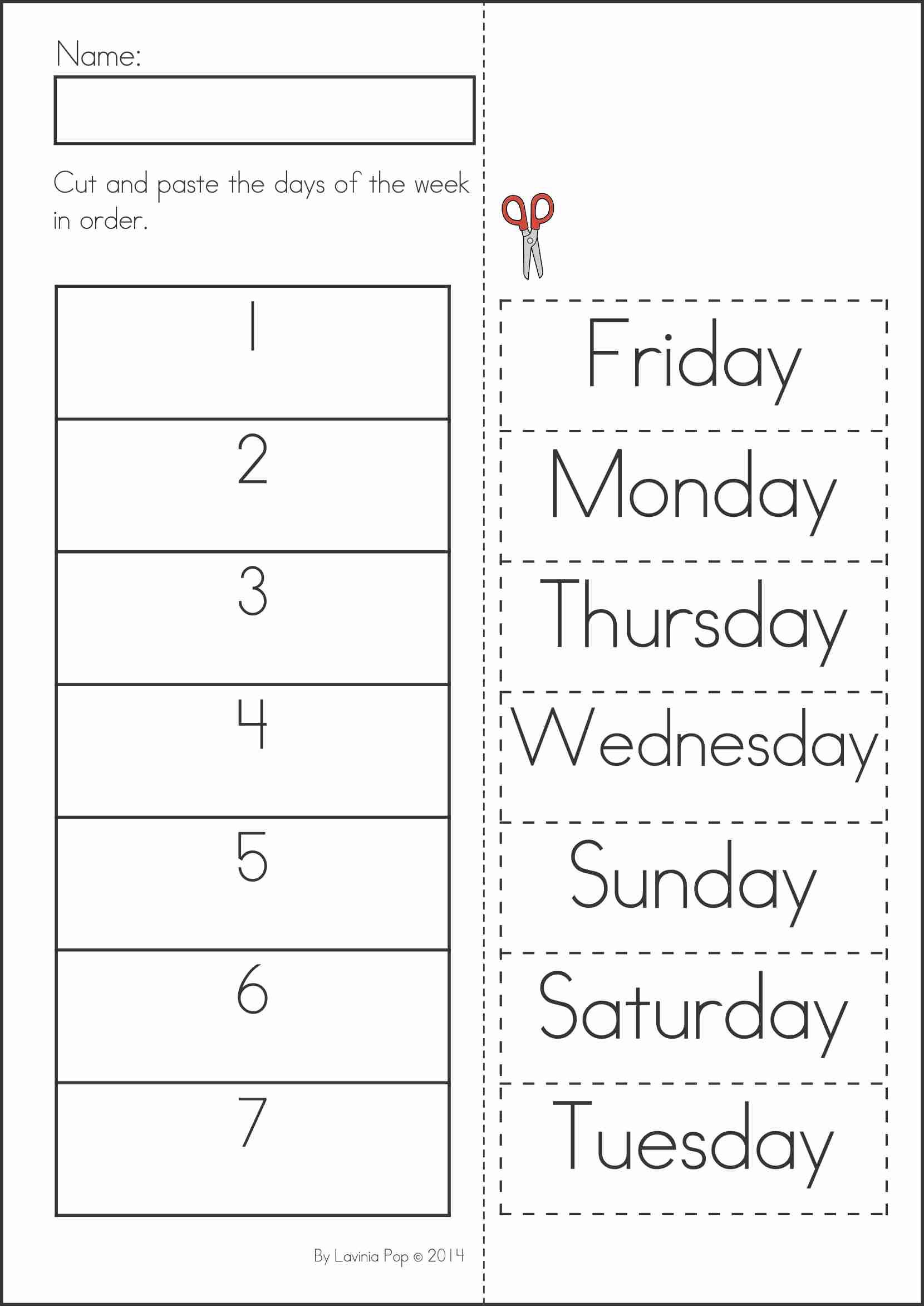 Kindergarten Worksheets Days Of The Week 716518