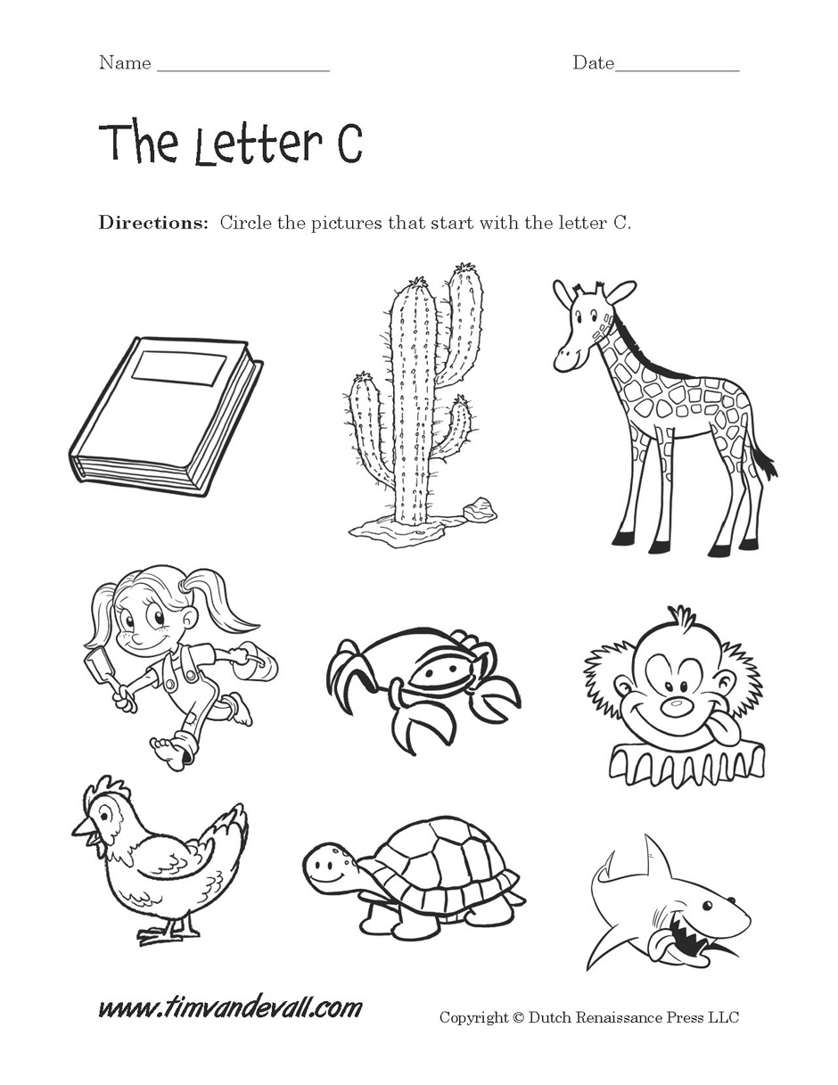 Kindergarten Worksheets For The Letter C  1338236