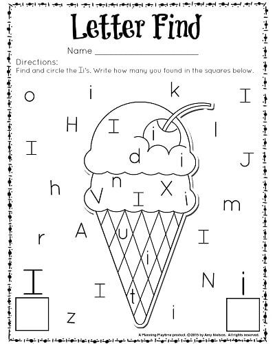 Kindergarten Worksheets For The Letter I  302783
