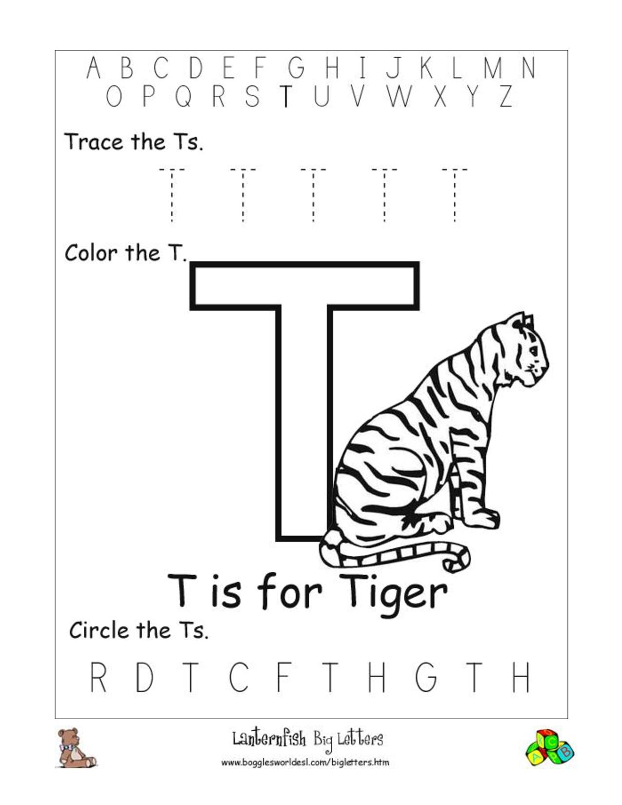 Kindergarten Worksheets For The Letter T 1371665