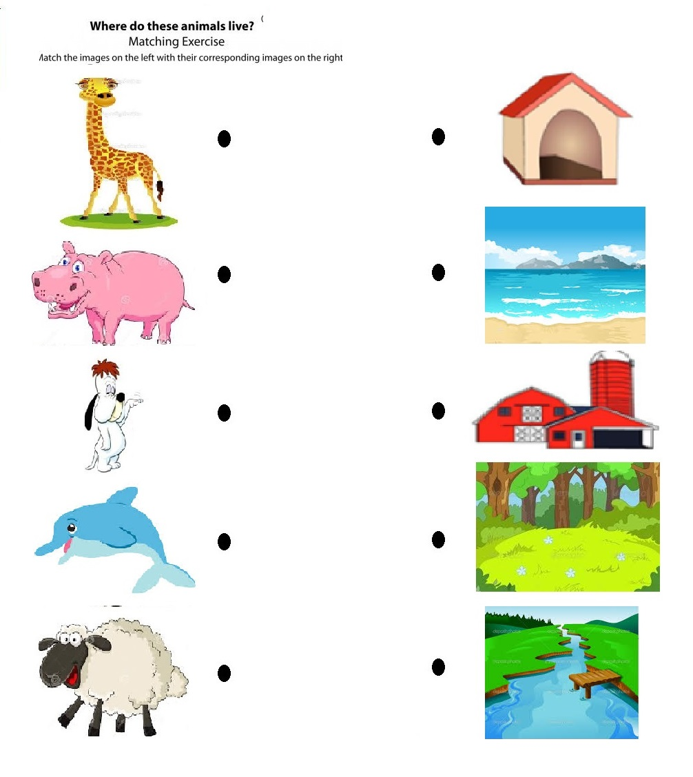 Kindergarten Worksheets On Animal Habitats  1108847