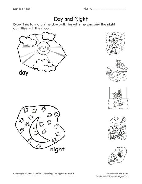 Kindergarten Worksheets On Day And Night Sky  213090