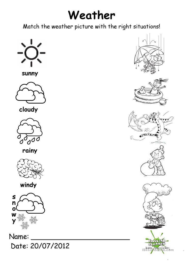 Kindergarten Worksheets On Weather 1330682