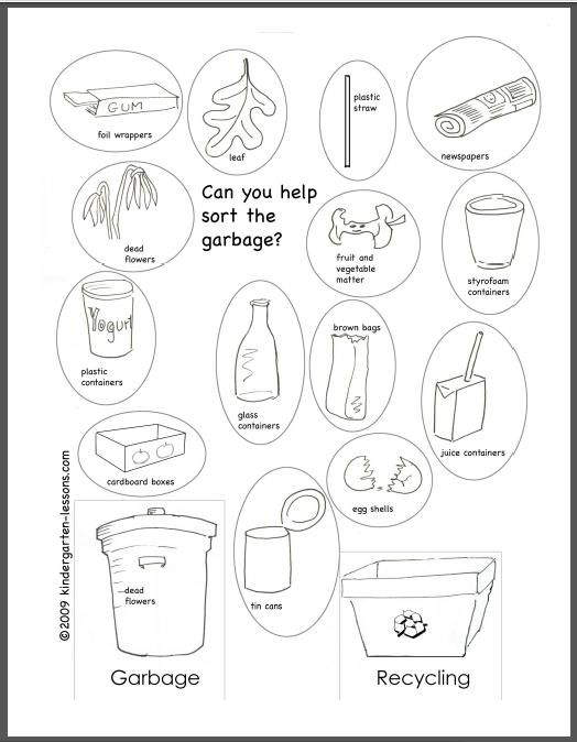 Kindergarten Worksheets Recycling