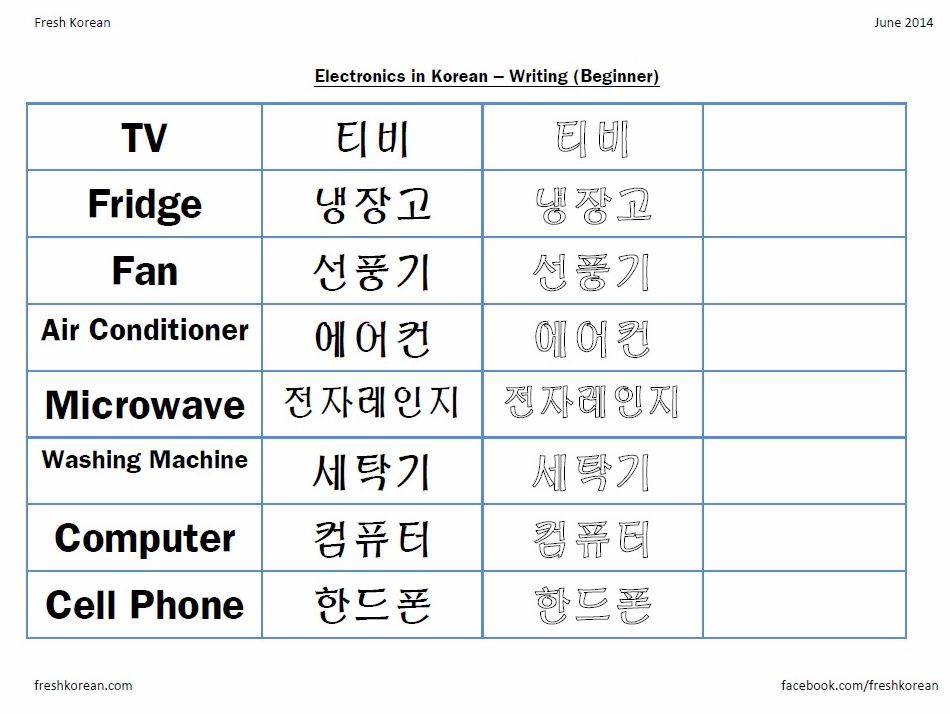 Korean Writing Worksheet – Page 2 – Fresh Korean